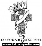 Ribbon-wrapped and Crowned Cross Tattoo Design Sketches - Cross Tattoos