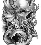 Amazing Alien Skull Tattoo Design Sketch - Skull Tattoos