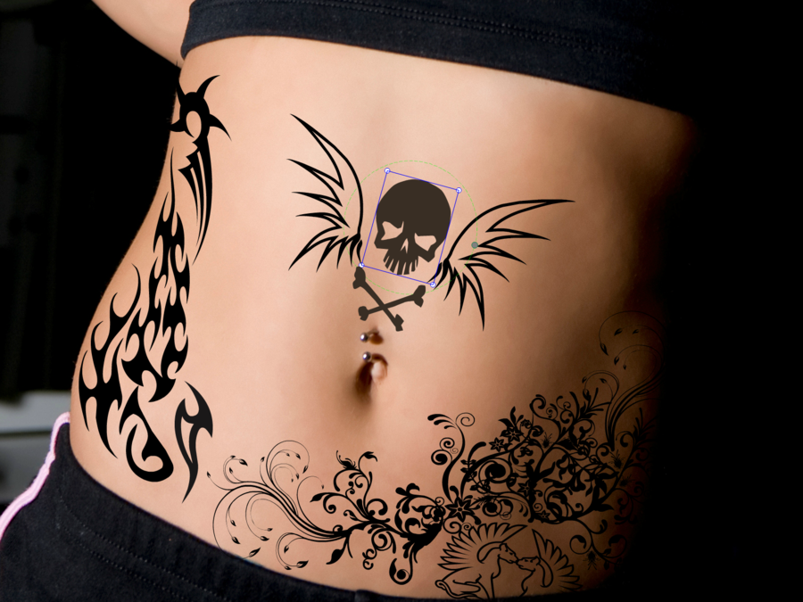 Swirlies and Tribals and Skulls Tattoo Designs for Girls