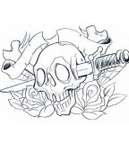 Cool Ribbon-wrapped and Stabbed Skull with Flowers Tattoo Design Sketch
