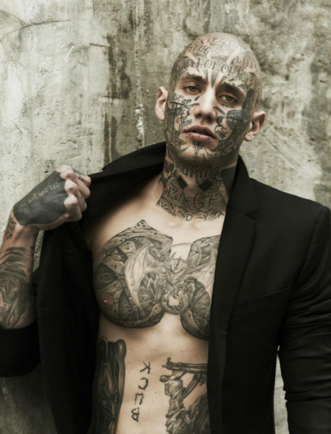 Male Model With Real Facial Tattoo