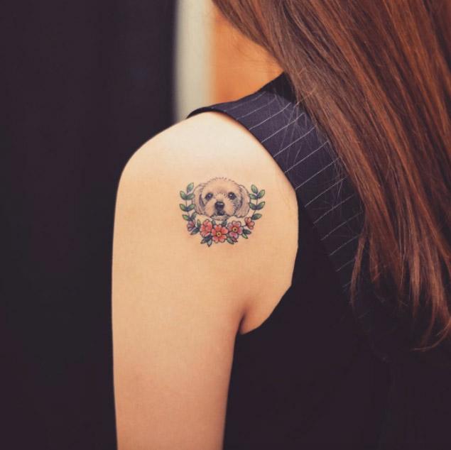maltese-puppy-shoulder-tattoo