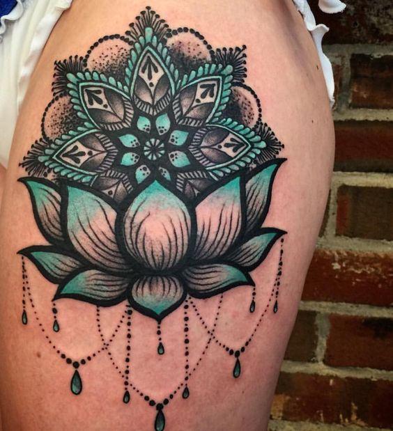 mandala and lotus flower tattoo