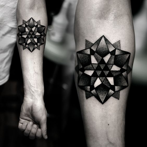 mandala grey black and white dotwork tattoo