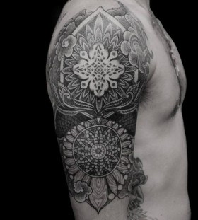 mandala shoulder tattoo