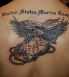 Colored MIlitary Tattoo Marine Corps Design