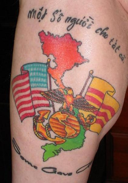 Marine Corps and US Flag Tattoos