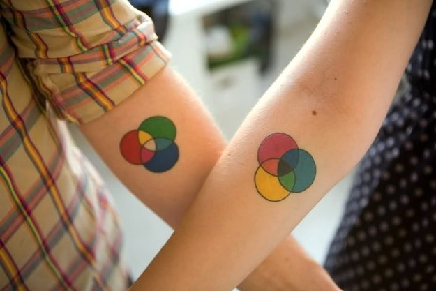 matching cicle couples tattoos