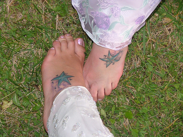 Sweet Sister Tattoos Left and Right Foot Ideas