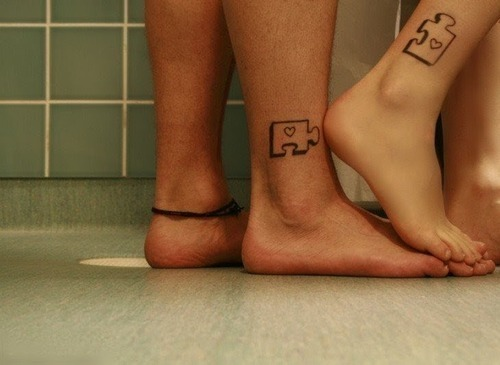 Puzzle Matching Tattoo Designs for Couple