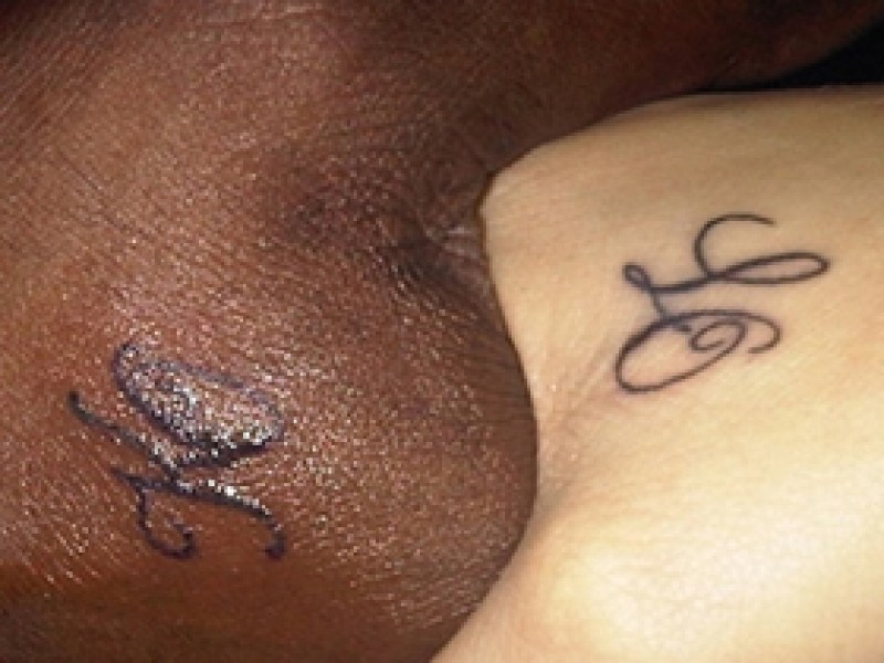 Khloe's 'LO' tattoo with Lamar's matching 'K' tattoo