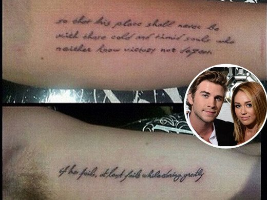 Miley Cyrus and Liam Hemsworth Get Matching Tattoos