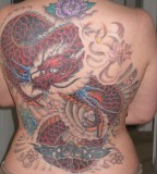 Japanese Mythical Red-Dragon Full Back Tattoos for Women