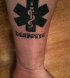 Black Ideas Medic Alert Tattoo Picture on Foot
