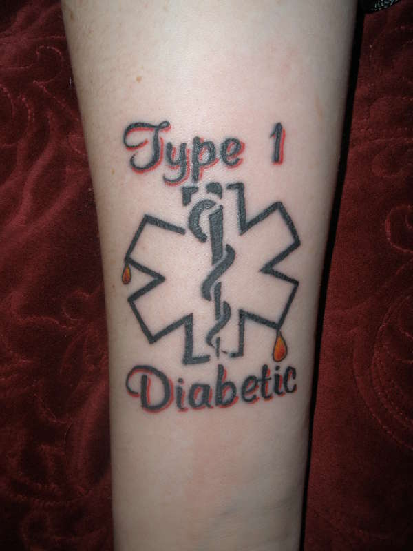 Simple Tattoo Medical Alert Type 1 Diabetic