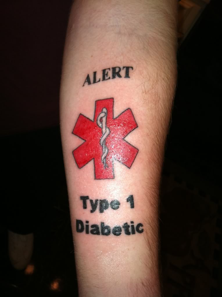 New My Medical Alert tattoo Type 1 Diabetic