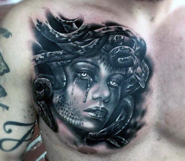 medusa chest tattoos for men