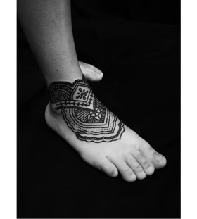 mehndi inspired foot tattoos for women
