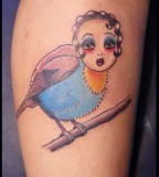 Bird With Girl Face - Tattoos For Girls
