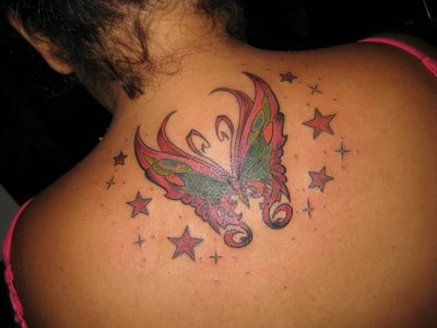Upper Back Beautiful Butterfly and Stars Tattoos