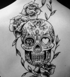 Mexican Skull & Roses Flowers Back Tattoo Design for Women