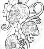 Mexican Sugar Skull Tattoo Outline Drawing Sketches - Skull And Rose Tattoos