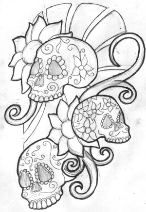 Mexican Sugar Skull Tattoo Outline Drawing Sketches – Skull And Rose Tattoos
