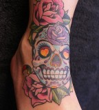 Girly Mexican Skull and Roses Flowers - Skull Tattoos For Women / Girls