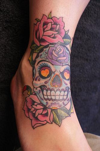 Girly Mexican Skull and Roses Flowers – Skull Tattoos For Women / Girls