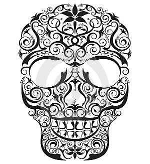 Outline Drawing of Human Skull Tattoos Designs Tribal Sugar & Evil