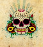 Roses and Skull Tattoo - Mexican Skull Tattoo Designs