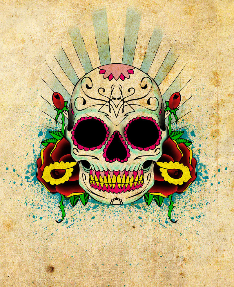 Roses and Skull Tattoo – Mexican Skull Tattoo Designs