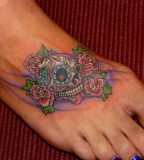 Mexican Sugar Skulls and Rose Flowers for Women - Skull Tattoos