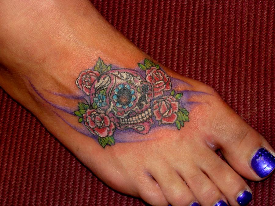 Mexican Sugar Skulls and Rose Flowers for Women – Skull Tattoos