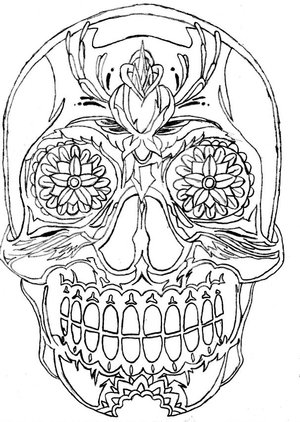 Mexican Skull Sleeve Outline-drawing Tattoo Designs – Skull Tattoos