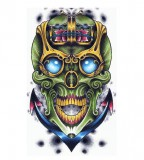 Cool Sailor's Green Sugar Skull on Anchor Tattoo Design - Skull Tattoos