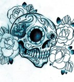 Mexican Sugar Skull Tattoo Drawing With Sketched Roses