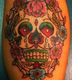 Mexican  Sugar Skulls with Rose Flowers - Skull Tattoos