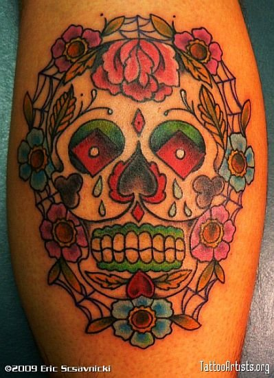 0a77bc58b Mexican Sugar Skulls with Rose Flowers - Skull Tattoos ...