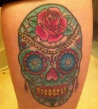 Rose Flowers and Mexican Skull Tattoo Design - Skull Tattoos