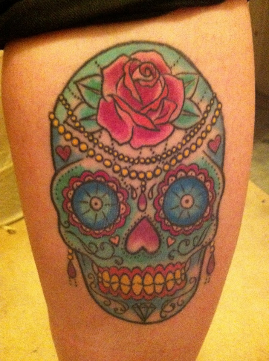 Rose Flowers and Mexican Skull Tattoo Design – Skull Tattoos