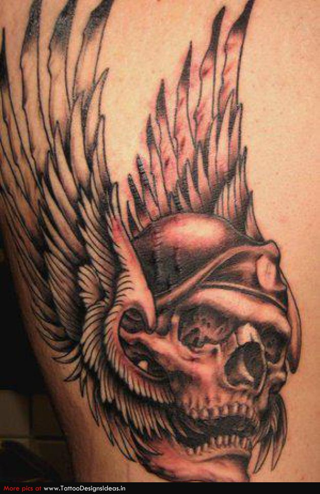 Awesome Tattoo Design of Skull and Eagle's Wings – Skull Tattoos