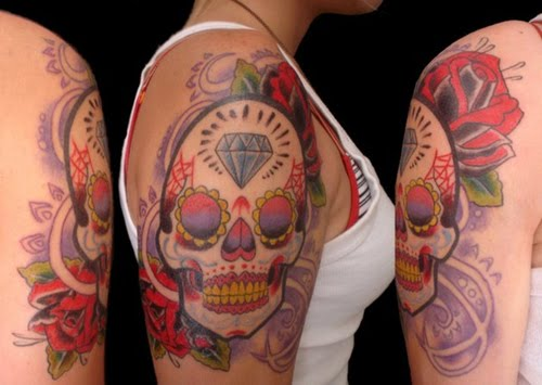 Mexican Sugar Skull Tattoo Designs Ideas for Women