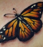 3D Life-like Monarch Butterfly Tattoo Design Ideas - Butterfly Tattoos