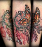 Bleeding Hearts and Monarch Butterfly Memorial Tattoo Design