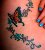 Beautiful Swirly Flowers and Monarch Butterfly Tattoo Ideas for Women
