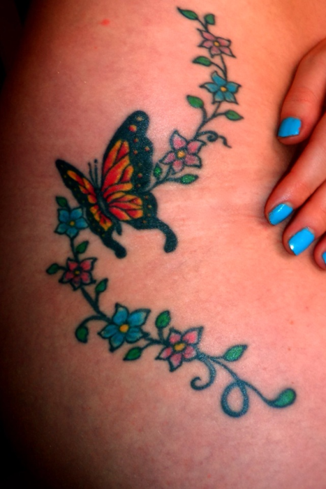 5ede71dfc Beautiful Swirly Flowers and Monarch Butterfly Tattoo Ideas for Women