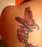 Beautiful Flowers and Monarch Butterfly Back-Shoulder Tattoos - Butterfly Tattoos
