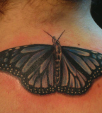 Awesome Monarch Butterfly Back / Neck Tattoos - Monarch Butterfly Tattoo