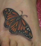 3D Life-like Floating Monarch Butterfly Tattoo Design for Women